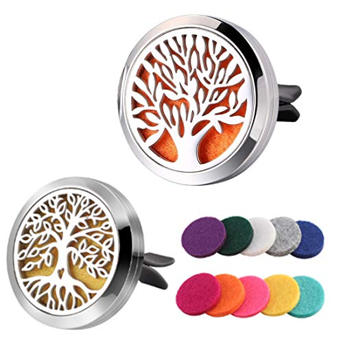 JOJOY LUX Aromatherapy Essential Oil Car Diffuser Vent Clip, 2 Pcs 30mm Air Fresheners Stainless Steel Locket with Magnetic & 10 Refill Pads
