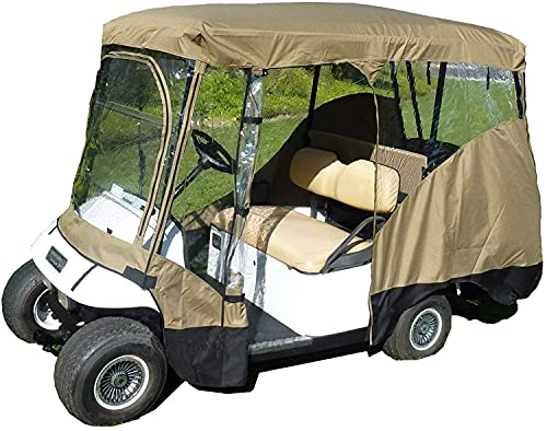 Yuansr Outdoor Golf Cart Cover Compatible,with 600D Material + Extra PVC Coating Waterproof Dust Prevention,4 Passenger Golf Cart