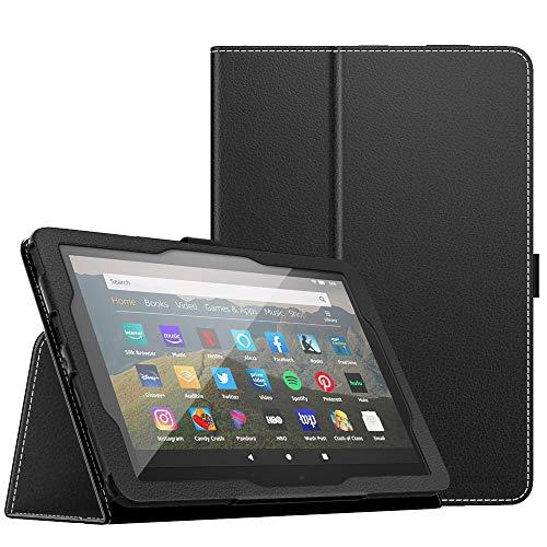 MoKo Smart Cover Compatibile con all-New Fire HD 8 Tablet And Fire HD 8 Plus Tablet (10th Generation, 2020 Release), Custodia Pieghevole Funzione a Piedi Supporto, con Anello per Penna-Nero