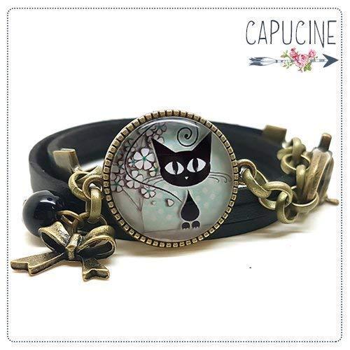 Bracelet noir avec cabochon verre chaton - Bracelet breloques bronze - Bracelet multi-rangs -...