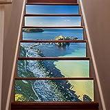 Adhesivo decorativo para pared, diseño de escalera, 3D, para decoración del hogar, creativa, extraíble, autoadhesivo, ecológico, impermeable, adhesivo para pared, para sala de estar, papel pintado de PVC