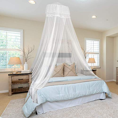Classic Mosquito Net Polyester Hanging Mosquito Net for Double Bed - White Plain