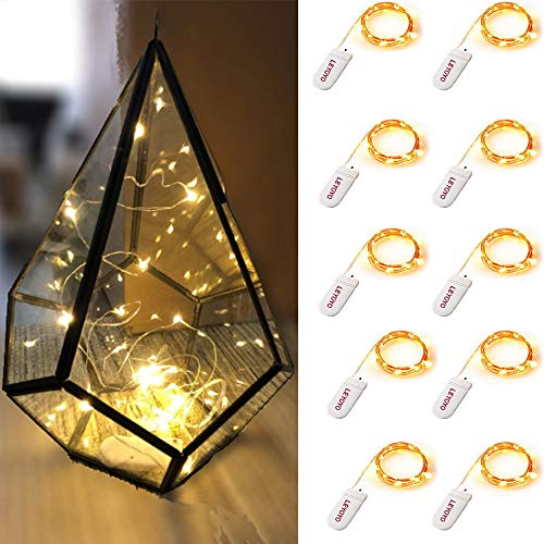 LEYOYO 10 Pack Fairy Lights Battery Operated, 3.9ft 24 LED Fairy String Lights, Twinkle Lights for Bedroom, Mason Jar Centerpiece, Christmas Table Decorations, Masquerade Party Decorations(Warm White)