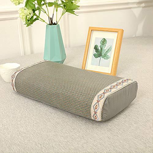 VISZC Almohada para el cuello para dormir, espuma de memoria, relleno de té, almohada de apoyo para el cuello, almohada de látex para hielo, 20 x 40 x 8 cm, espuma de memoria verde