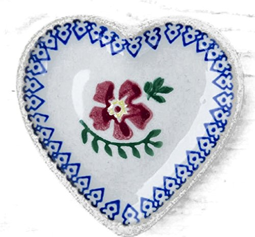 kleiner herzförmiger Teller, Nicholas Mosse Pottery, Old Rose Design, 9x9cm