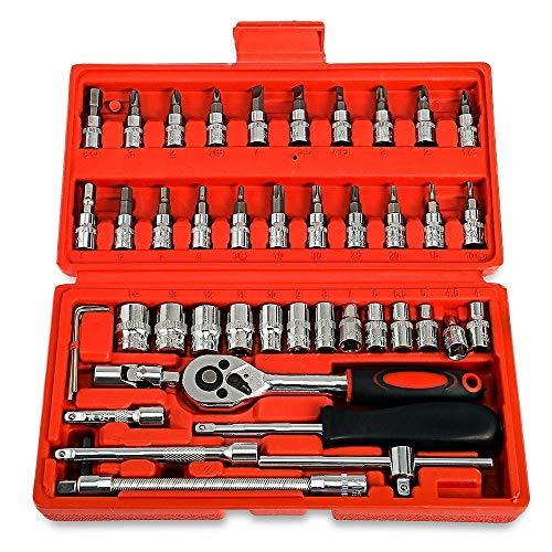 EDFDJED 46pcs Voiture clé à cliquet Ensemble 1/4 4-14 mm Douille pour kit d'outils de réparation de vélo de Moto de Voiture