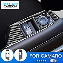 Next-Gen Speed Real Carbon Fiber Window Switch Panel Cover for Camaro 2016 2017 2018 2019 2020 Interior Trim Piece Cover True Carbon Fiber