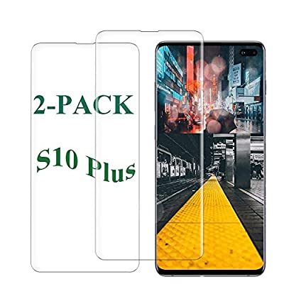 S10 Plus Screen Protector Tempered Glass for Samsung Galaxy S10 Plus Case Friendly 9H Hardness 3D Curved HD Coverage [Fingerprint ID Enabled] [2-Pack]a1