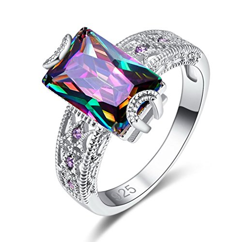 YAZILIND Platinum Plated Rectangle Cubic Zirconia Shiny Rhinestone Wedding Eternity Love Jewellery Ring Elegant for Women Girls Size R