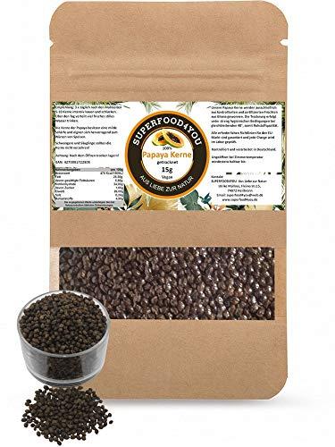 Papaya Kerne Samen 15g bei 40° kontrolliert getrocknet - Rohkostqualität - Ohne Zusatzstoffe - Garantiert rein - Gluten - Laktosefreie Papaya Samen - Papain/Milde Schärfe