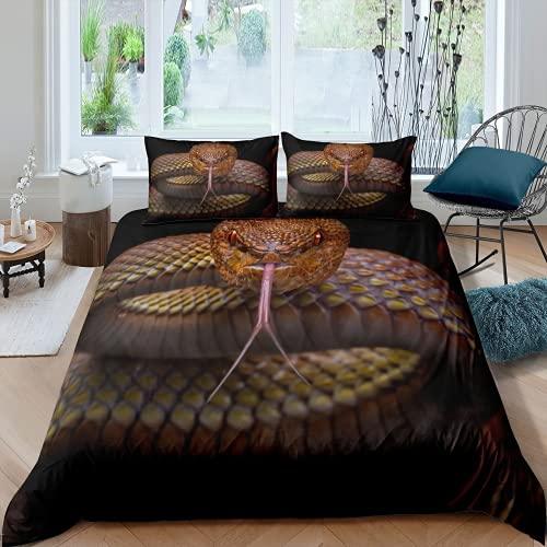 JXSMYT 3D Snake Bed Linen Duvet Cover Pillow Case Teenagers Microfibre Bed Linen 135 x 200 cm Soft Comfortable (STA-6.155 x 220 cm + 2 x 50 x 75 cm)