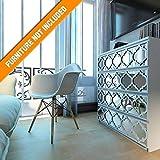 HomeArtDecor | Trellis Gitterwerk | Geeignet für IKEA Malm | 80 x 20 cm | Farbe: Weiß und Spiegel | Moderne Möbel Dekoration Handgemachte Fretwork Hardware | Wohnkultur
