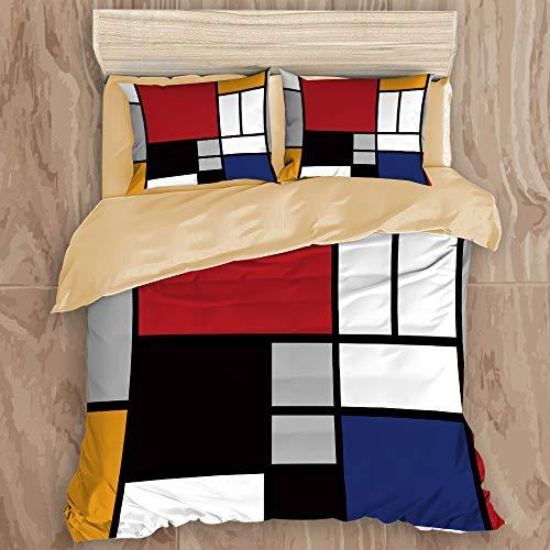 ALLMILL Funda Nórdica De Microfibra,Rectángulo de líneas Mondrian colorido geométrico abstracto,Juego De Ropa De Cama De 3 Piezas (1 caqui Funda De Edredón 220 x 240cm + 2 Fundas De Almohada 50*80cm)