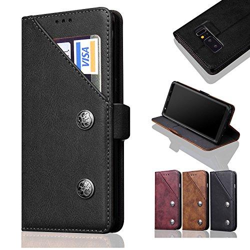 Galaxy Note 8 ケース【ChangHe】 100%手作り 高級PUレザーケース 手帳型 ギャラクシーノート8 ケース SC-01K 財布型 カバーケース カードポケット マグネット式開閉 耐衝撃 保護 スマホケース(ブラック)