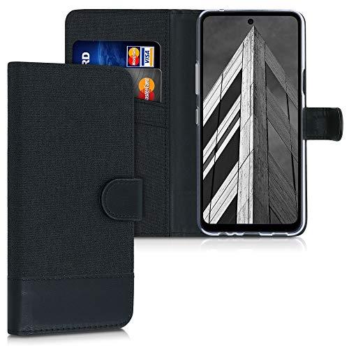 kwmobile Hülle kompatibel mit LG K52 / K62 / Q52 - Kunstleder Wallet Case mit Kartenfächern Stand in Anthrazit Schwarz