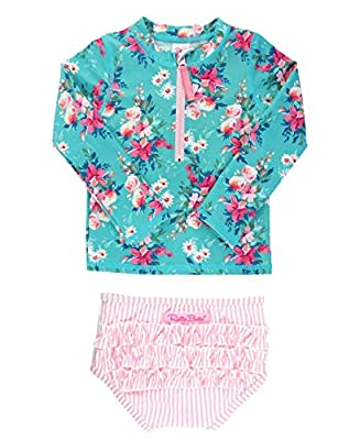 RuffleButts Girls Fancy Me Floral Long Sleeve Rash Guard Bikini - 3T