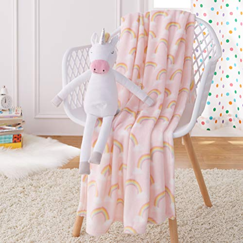 AmazonBasics Kids Unicorns & Rainbows Patterned Throw Blanket with Stuffed Animal Unicorn