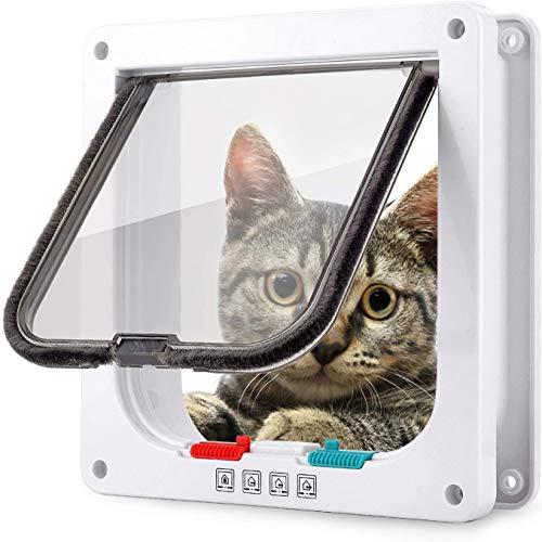 Smilelove Gattaiola Porta Basculante per Gatti con Serratura a 4 Vie, Porta per Gatti con Telaio Telescopico, Resistente alle Intemperie (M 19 * 20 * 5.5cm, Bianco)