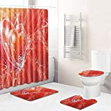 Claean-Acces-Home Alfombrilla De Baño Lila Amor Patrón Baño Baño De Cuatro Piezas Baño Antideslizante Alfombra Impermeable Cortina Cortina De Cocina Pasta De Corredor-Qrj139_45*75Cm+180 * 180Cm