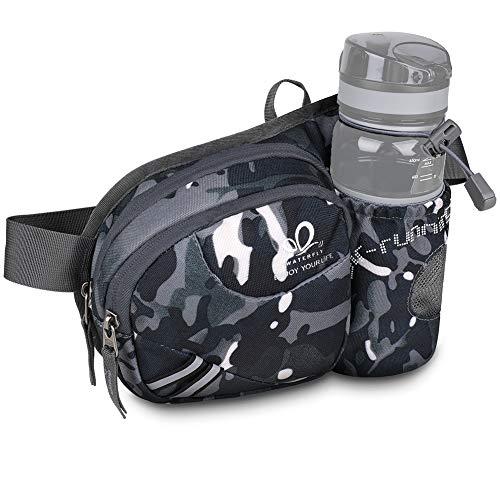 WATERFLY(ウォーターフライ) ウエストバッグ ウェストポーチ アウトドア 水筒ポーチ付き 8色 男女兼用 ランニング ウォーキング ジョギング 登山 散歩 軽量 通気 メンズ レディース (迷彩2)