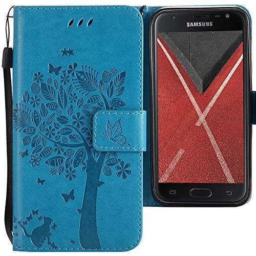 CLM-Tech kompatibel mit Samsung Galaxy J3 (2017) DUOS Hülle Tasche aus Kunstleder, PU Leder-Tasche Lederhülle, Baum Katze Schmetterlinge blau