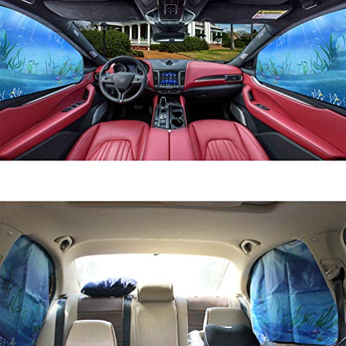 ZATOOTO Car Side Window Sun Shades - Front Rear 4 pcs Magnetic Privacy SunShades Ocean Underwater World Pattern Design SUV Windshield Cool Curtain for Baby Kids