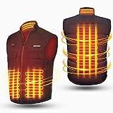 Chaleco calefactable para hombre y mujer de espalda y cuello, ropa calefactable usb con 2 controlador, 3 temperatura ajustable, 6 bolsillos, 3 tamaños chaqueta calefactable para moto, caza, pesca (m)