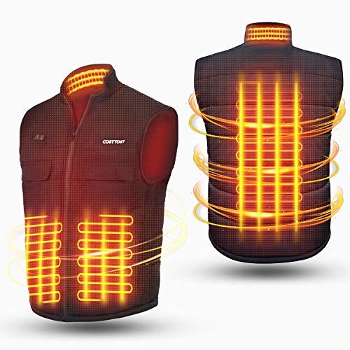 Chaleco Calefactable para Hombre y Mujer de Espalda y Cuello, Ropa Calefactable USB con 2 Controlador, 3 Temperatura Ajustable, 6 Bolsillos, 3 Tamaños Chaqueta Calefactable para Moto, Caza, Pesca (L)