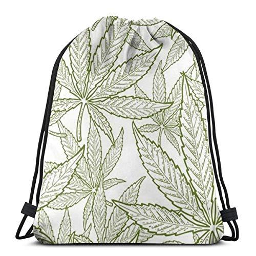 Lawenp Mochila con cordón Dibujada a Mano de Hoja de Marihuana Bolsas Deportivas Bolsas de Mano con cincha para Viajes y Almacenamiento para Hombres y Mujeres de 17x14 Pulgadas