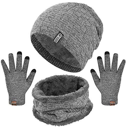 CMTOP Gorro Invierno Hombre Bufanda Gorro Guantes para Hombre Mujer Set Invierno Regalos Engrosamiento Gorro de Punto Sombrero de Esquí Suave al Tacto