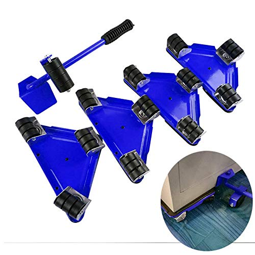 Heavy Duty Furniture Lifter with Triangle Moving Sliders Mover Tool Set Moving Appliance Roller Max Load for 880-1100lb 5 Packs (Blue)