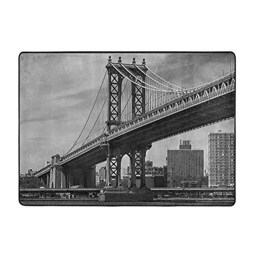 Alfombra de Nueva York, diseño vintage del puente de Nueva York, con imagen del río East Hudson, Estados Unidos, viaje Top Place City Photo Art Print de 4 x 6 pies suave alfombra decoración del hogar