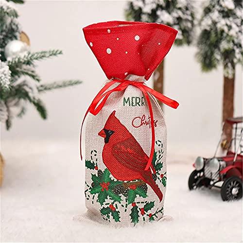 MAJFK Bolsas para botellas de vino de Navidad, diseño de trineo, vino tinto y champán, decoración de bolsas de regalo de vino reutilizables para decoración de mesa de regalo de Navidad