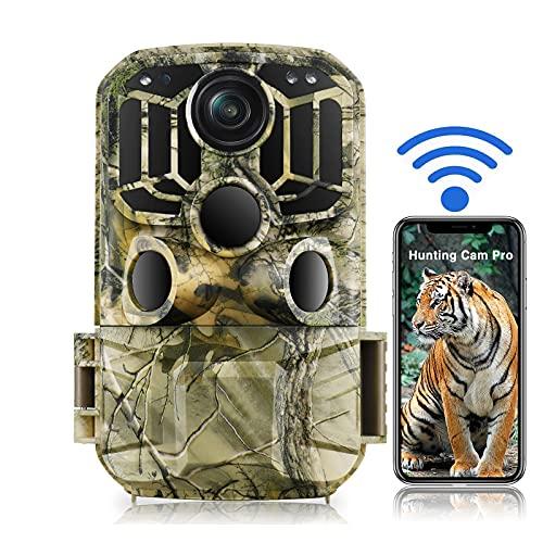 WiFi Wildkamera 20MP 1296P Wildkamera Jagd 850nm wasserdichte IP66 Kamera mit 0,3s Auslösezeit und Bewegungsmelder Nachtinfrarotsicht bis zu 66ft (20m), WLAN Jagdkamera für Outdoor-Beobachtung