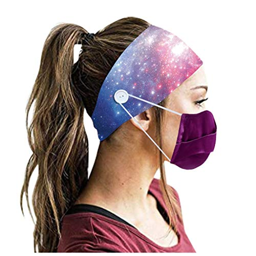 Holzkary Hairband Women Multicolor Headband with Buttons on Side Men's Sweatband Elastic Hair Wraps Bandana Hair Accessories(Multicolor-14)