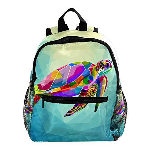 Indimization Zaino da ragazzo Tartaruga geometrica colorata Zaino con motivo stampato zaino per scuola elementare zaino per bambina leggero zaino per bambini tracolla regolabile 25.4x10x30 CM