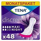 Tena Discreet Maxi Night, Monatspaket mit 48 Einlagen (8 Packungen je 6 Einlagen) -