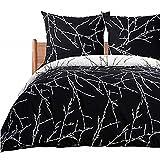 Bedsure Bettwäsche 135X200 Mikrofaser 2 teilig - schwarz Bettbezug Set mit schickem Zweige Muster, weiche Flauschige Bettbezüge mit Reißverschluss und 1 mal 80x80cm Kissenbezug