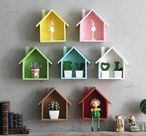 Casadeiy Mini-Haus Mehrzweck-Multi-Fleisch-Pflanze Regale Dekorative Holz Anhänger (Blau)
