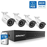 【8CH 1TB HDD】 PoE Home Security Camera System,SMONET NVR Surveillance System with 1TB Hard Drive,4pcs Onvif Indoor Outdoor Full HD IP Cameras,Waterproof NVR Kits,Night Vision,Free Remote View