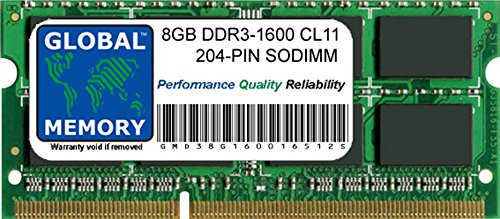 GLOBAL MEMORY Memoria RAM de 8 GB de 1600 MHz PC3L-12800 204