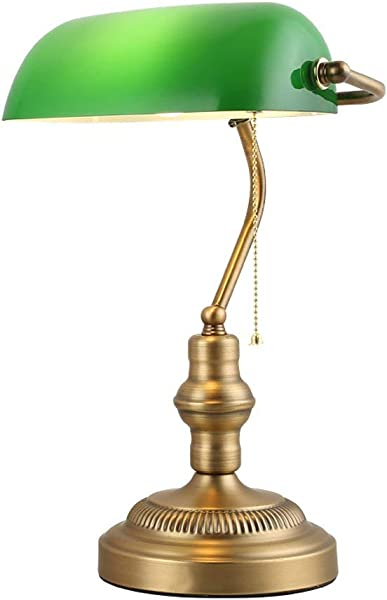 Shi Hui Light Traditional Banker Desk Lamp Exquisite Glass Lampshade Green Living Room Office Conference Room Study Reading Lamp