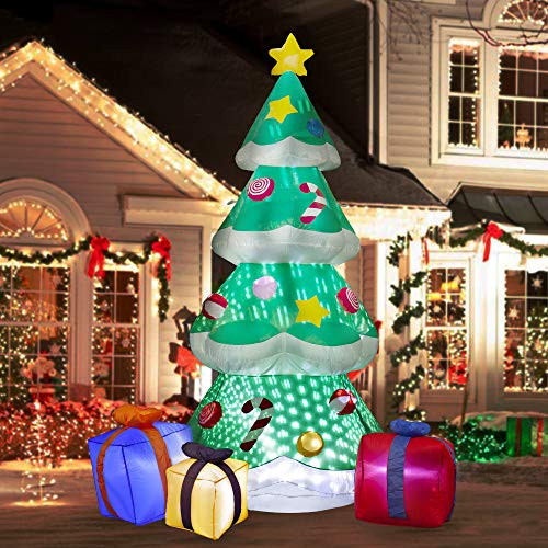 SEASONJOY 7 Ft Christmas Inflatable Tree with Multicolor Gift Boxes, Built-in Lights with Snowflake Effect, Outdoor Inflatable Christmas Decor for Yard Lawn Garden