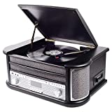 Equipo de música Denver MRD-51 Black de Estilo Retro. Tocadiscos. Radio Digital Dab. Reproductor de CD y casetes. Grabación Directa a través de USB de Discos de Vinilo, CDs y Cassettes. Madera