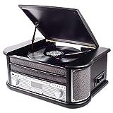 Denver MRD-51 BLACK stereo in stile retrò. Giradischi Radio digitale DAB. Lettore CD e ca...