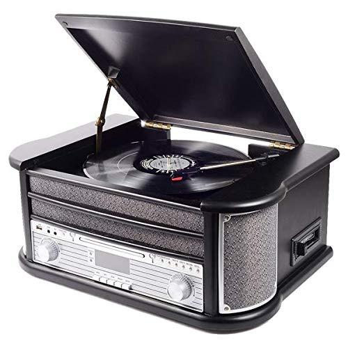Denver MRD-51 DAB+, FM/AM Radio mit CD-, Kasetten- und Plattenspieler, Holzoptik, Schwarz