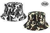 Hemuu 2 PCS Fishing Hats/Sombrero para Sol de ala Ancha Unisex, Sombrero Plegable de Pesca al Aire Libre, Sombrero de Pescador Cap, Gorra para Hombre Mujer (Camuflaje Verde/Gris)