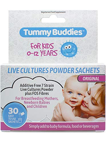 Tummy Buddies Live Cultures Powder for Babies and Children - 30 Sachets - Effective 7 Multi Strain Friendly Bacteria Formula with FOS Fibre for New Born Babies, Infants and Kids of All Ages.