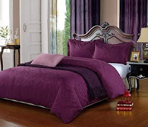 500 Thread Count DAMASK 100% Cotton Jacquard Duvet Cover Set (King, Purple)