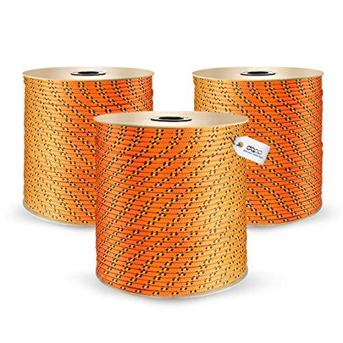 DQ-PP POLYPROPYLENSEIL | 6mm | 100m | ORANGE Polypropylen Seil | Tauwerk PP Flechtleine Textilseil Reepschnur Leine Schnur Festmacher Rope Kordel Kunststoffseil Kletterseil geflochten
